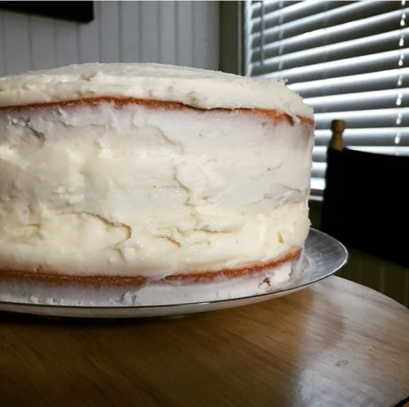 White Christmas Cake Frosted
